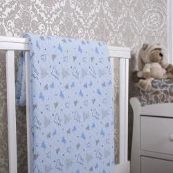 """Купить трикотажное детское покрывало """"Мишки-малышки голубое"""""""
