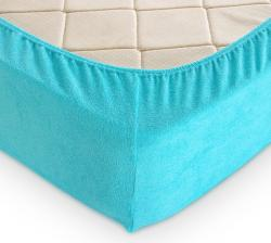 Купить голубую махровую простынь на резинке