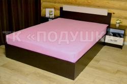 Купить розовую махровую простынь на резинке в Москве
